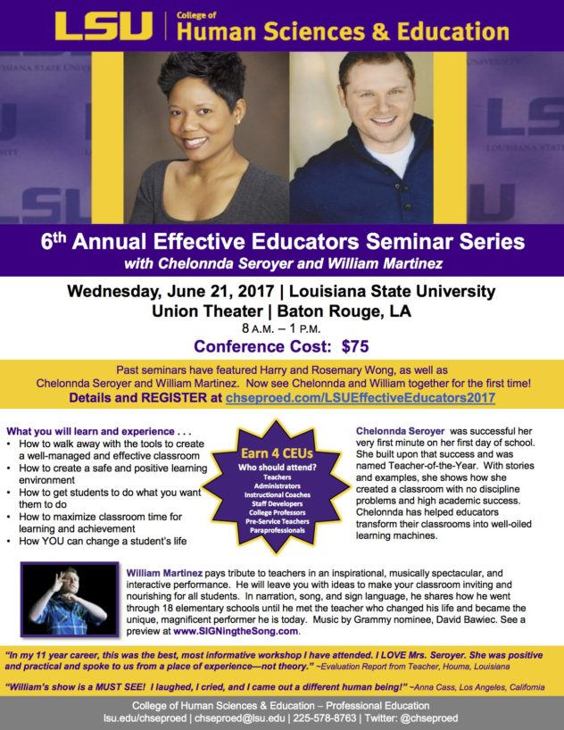 Lsu Effective Educators Seminar Flyer  Signing The Song